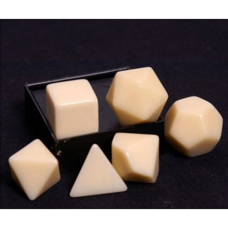 Opaque Polyhedral Ivory Set of 6 blank dice - Chessex