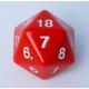 Dado Contador Gigante D20 de 55mm - Rojo