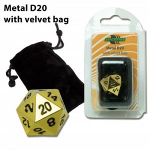 Dado metálico D20 con bolsa de terciopelo - Dorado