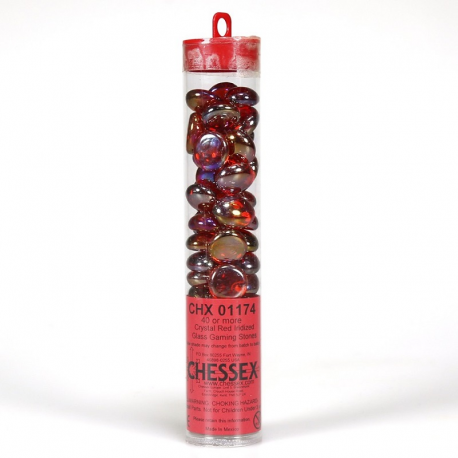 Contadores Iridized Roja (40 aprox.) - Gaming Stones Iridized Red - Chessex
