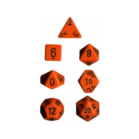 Chessex Set 7 Dados poliedricos Opacos - Naranja y Negro