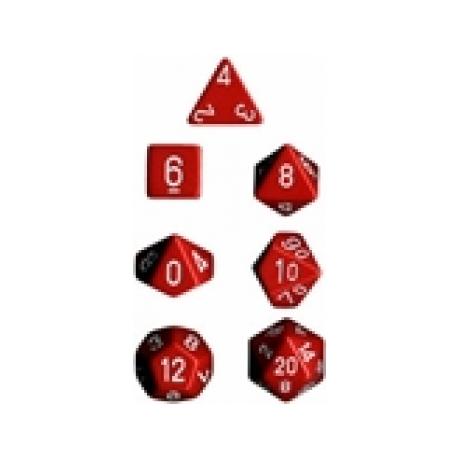 Chessex Set 7 Dados poliedricos Opacos - Rojo y blanco